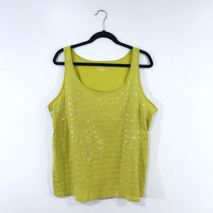 [Lane Bryant] Lime Sequin Cotton Tank Top